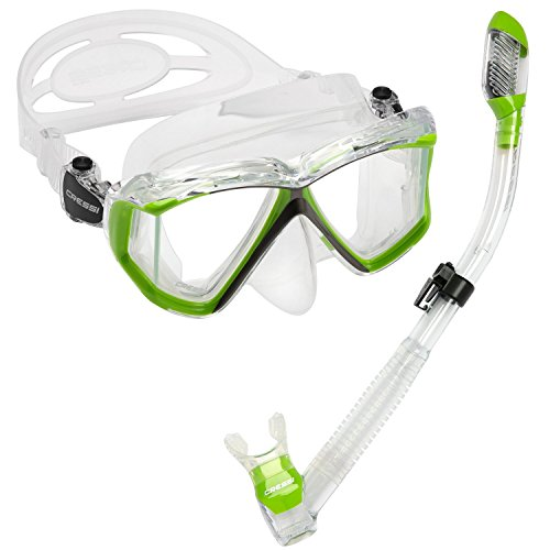Cressi Panoramic Wide View 4 Panel Mask Dry Snorkel Set, Lime Green/Clear Silicone