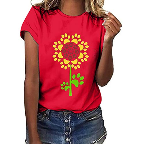 Plus Size Sunflower T Shirts Short Sleeve Cartoon Printed Crew Neck Tees Womens Summer Tops Pocciol - Robe Envelope Red Cotton