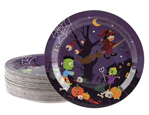 Disposable Plates - 80-Count Paper Plates, Halloween Party Supplies for Appetizer, Lunch, Dinner, and Dessert, Witch and Monsters Design, 9 Inches -