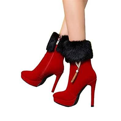 Shirloy Botas para Mujer Zapatos tacón Alto Plataforma ...