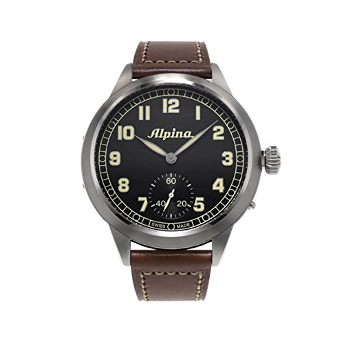 Alpina Heritage Pilot Black Dial Brown Leather Mens Watch 435B4SH6