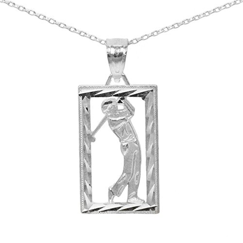 Player Charm 14kt Gold Jewelry (14k White Gold Square Golf Pendant (No Chain))
