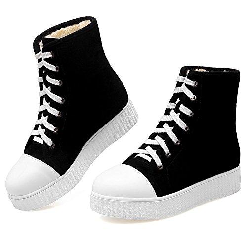 Plush SaraIris Sneaker up Lace Platform Ankle Winter Warm Sneaker Women's for Fashion Black S66wqOY