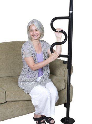 Security Pole & Curve Grab Bar, White or Black | Stander #1100