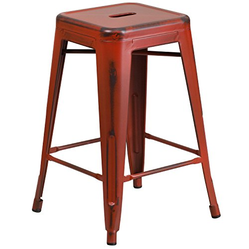 Flash Furniture ET-BT3503-24-RD-GG Colorful Restaurant Counter Distressed Red Metal Stool, 1 Pack, Kelly