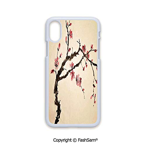 (Plastic Rigid Mobile Phone case Compatible with iPhone X Black Edge Traditional Chinese Paint of Figural Tree with Details Brushstroke Effects Print 2D Print Hard Plastic Phone Case)
