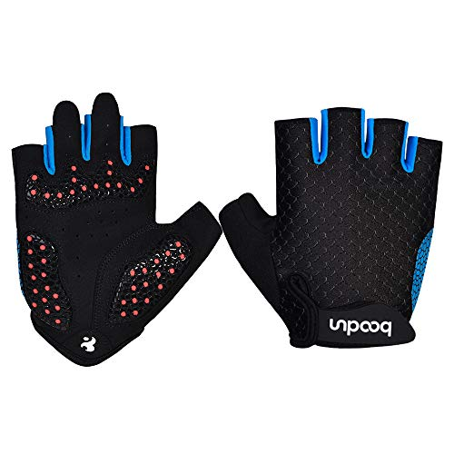 Límite-US Cycling Gloves Bike Gloves Bicycle Gloves Mountain Biking Gloves,SBR Pad Shockproof | Anti- Slip Half Finger Gloves for Men&Women (Blue, L) ()