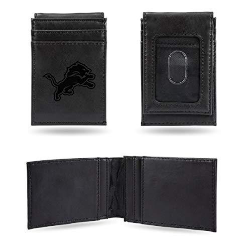 Rico Industries NFL Detroit Lions Laser Engraved Front Pocket Wallet, Black - Engraved Nfl Money Clip