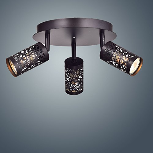YOBO Lighting Vintage 3-Light GU10 Ceiling Spot Track