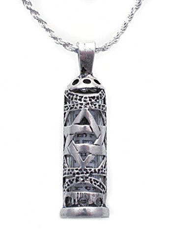 925 Sterling Silver Mezuzah Necklace for Men with Star of David Pendant and Enclosed Scroll, 20
