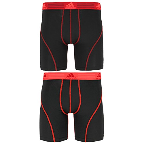 "Price comparison product image adidas Men's Sport Performance Climalite 9"" Midway Underwear (2 Pack), Black/Power Red/Solar Red, Medium"