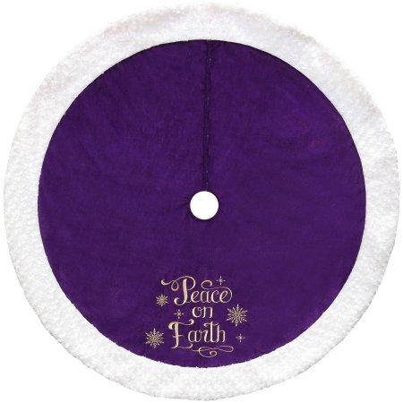 48'' ''Peace on Earth'' Velvet Tree Skirt, Purple (1)