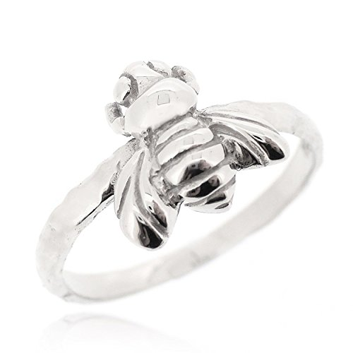 Honey Bee India (SOVATS Bee Ring For Women 925 Sterling Silver Rhodium Plated - Comfort Fit Friendship Promise Ring Band, Size 9)