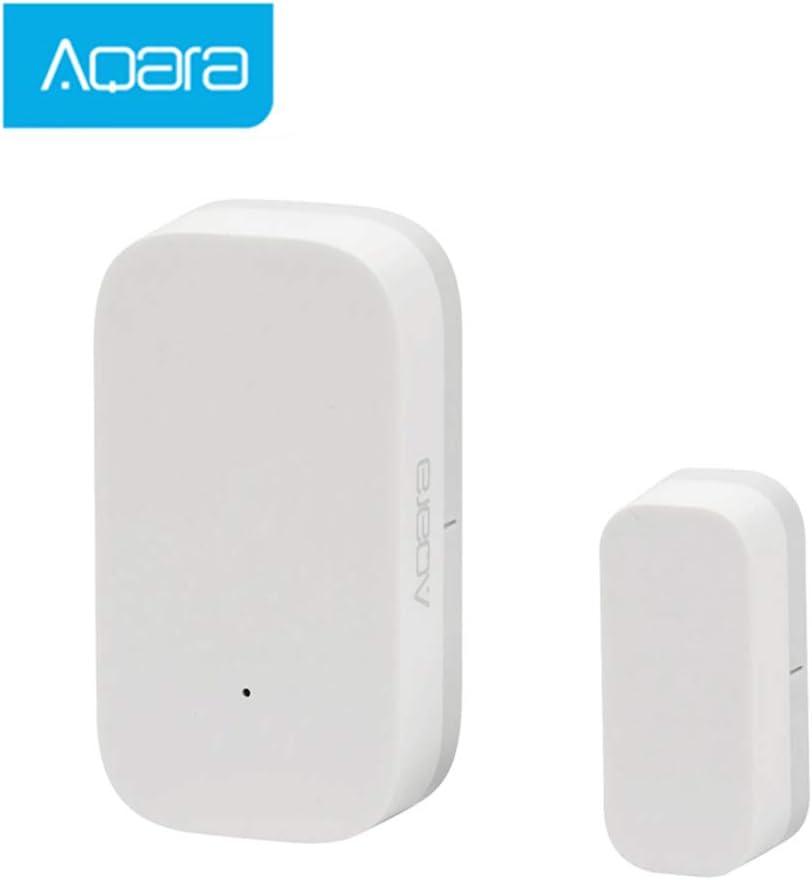 Hangrui Sensor de Puerta y Ventana,ZigBee conexión inalámbrica Inteligente, Detector de Alarma Compatible con Hub Aqara de Alarma de Seguridad Antirrobo El Detector de Sensor de Imán