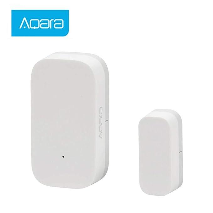 Hangrui Sensor de Puerta y Ventana,ZigBee conexión inalámbrica Inteligente, Detector de Alarma WiFi Compatible con Hub Aqara de Alarma de Seguridad ...