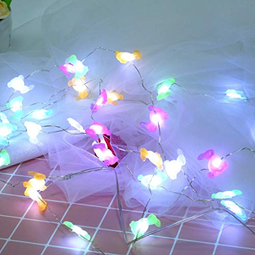 Pulison LED String Lights 10 ft with 40 LEDs for Easter Decoration Waterproof Outdoor & Indoor Decorative Lights for Bedroom, Garden, Patio, Parties Rabbit Bunny Festive String Lights ()