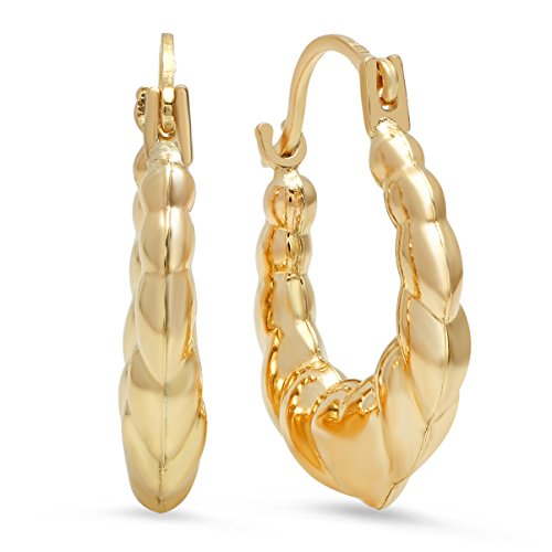 Gold Fashion Heart Earrings - 10K Solid Yellow Gold Fancy Textured Knotted Heart Hoop Earrings- 2x19mm