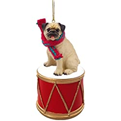 little drummer pug christmas ornament hand painted delightful - Pug Christmas