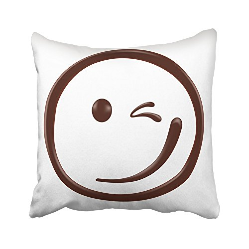 Emvency Decorative Throw Pillow Covers Cases Brown Smile Chocolate Smiley Face on White Realistic Food Liquid Cream Drop Happines Blob Candy 16x16 inches Pillowcases Case Cover Cushion Two Sided