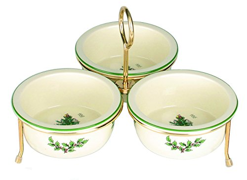 (Spode Christmas Tree 3 Bowl Set With Gold Metal Stand, Green)