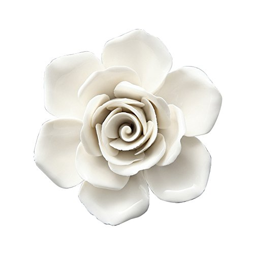 ALYCASO Hand-Made 3D Wall Pediments Ceramics Porcelain White Flowers Wall Hangings Home Decoration -