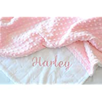 Personalized Baby Blanket White Embossed Arrow with Pink Minky dot Blanket
