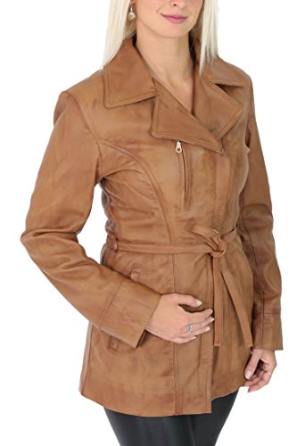 Womens Real Soft Leather Mid Length Jacket with Belt Slim Fit Aby Tan (XX-Large) (Ladies Leather Mid Length Jacket)