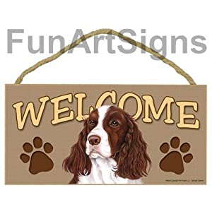 Springer Spaniel Welcome Sign - Wooden Sign 1