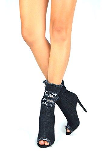 Open Delle Donne Tacco 3 Toe Bootie Nero Denim Alto Chloe Chase Emelia XqHwFx1H