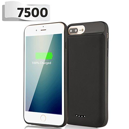 iPhone 8 Plus / 7 Plus / 6S Plus / 6 Plus Battery Case - BeeFix 7500mAh Rechargeable Extend Portable Power Charger Protective Charging Case Cover for iPhone 8 7 6S 6 Plus 5.5 inch (Black)