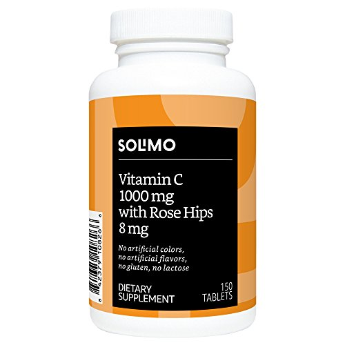 Amazon Brand - Solimo Vitamin C 1000mg with Rose Hips 8mg, 150 Tablets, Five Month Supply
