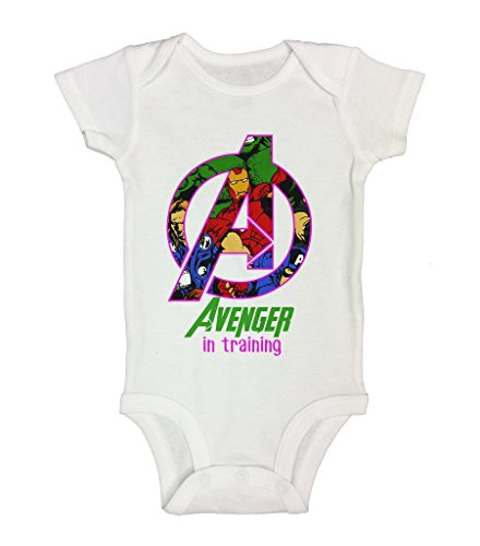 "Cute Superhero Onesie – "" Pink Avenger in Training"" Little Royaltee Shirts 3-6 Months, White"