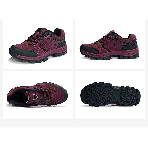 CHT De Otoño E Invierno Amantes Al Aire Libre De Senderismo Zapatos De Los Hombres De Montaña De Tamaño Multi-código Rojo Verde Marrón Gris Opcional Red-women-37