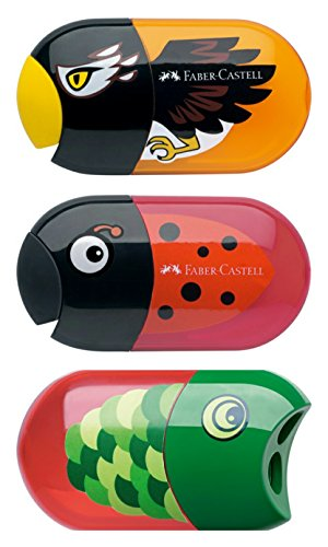 Faber-Castell Cute Pencil Sharpeners for kids friendly design, Twin hole sharpener for graphite pencils, colored pencils, crayons - 3 assorted - Graphite Pencil Design