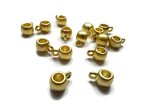 ld Plated Brass Mini Plain Bead Bail Charm Holder - Set of 5 - BFG011 (Micron Gold Plated)