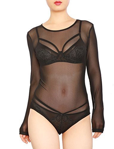 May&Maya Women's Long Sleeve Pure Mesh Blouse (S, Black/Bodysuit) -
