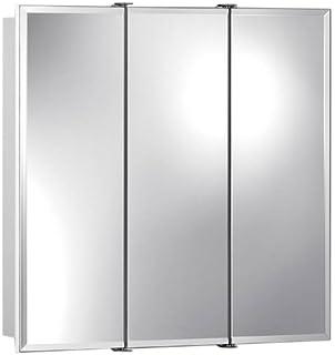 Jensen 75528030 Ashland Frameless Oversize Medicine Cabinet  Classic White   24 Inch by 4. Amazon com  Zenith M24  Beveled Tri View Medicine Cabinet