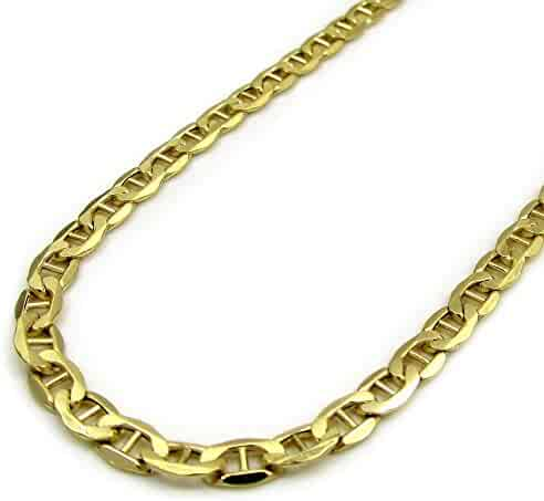 14K Yellow Gold Mens 4.5MM Figaro Diamond Cut Chain Necklace 18 to 24 Inches