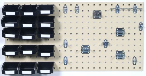 Triton Products LB18-1THBBK-Kit 18 in W X 36 in H Tan Epoxy, Steel Square Hole Pegboard 43-Piece Kit with 15 Bins, 15 Binclips and 12 Hooks and Mounting Hardware Tan by Triton 2