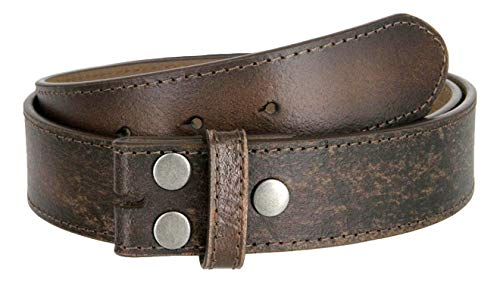 "Classic Vintage Distressed Casual Jean Leather Belt Strap (S(30""-32""), Dark Brown)"