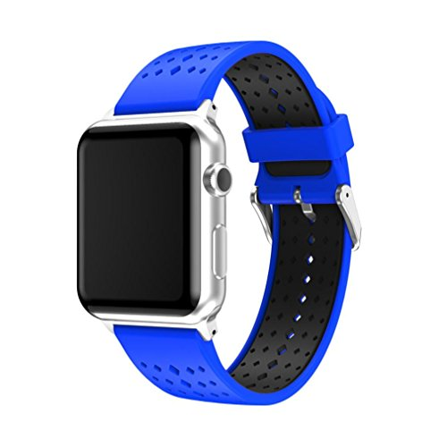 For Apple Watch Series 3 38MM 42MM,Sunfei Sport Silicone Replacement Wristband Wrist Strap (42MM, Blue)