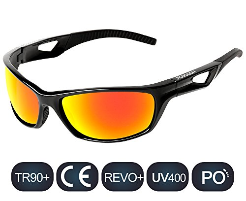 HODGSON Sports Polarized Sunglasses for Men Women, UV400 Protection Unbreakable Sports Glasses for Cycling, Baseball Riding, Driving, Running, Golf and Other Outdoor Activities (Black/Orange)