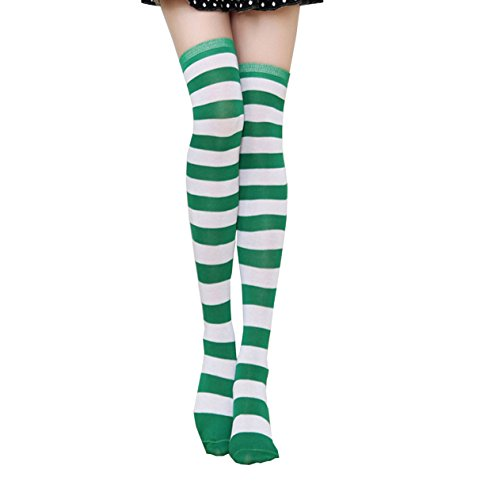 Green Striped Thigh High Stockings Over Knee Extra Long Socks for Women & - Poplar Most
