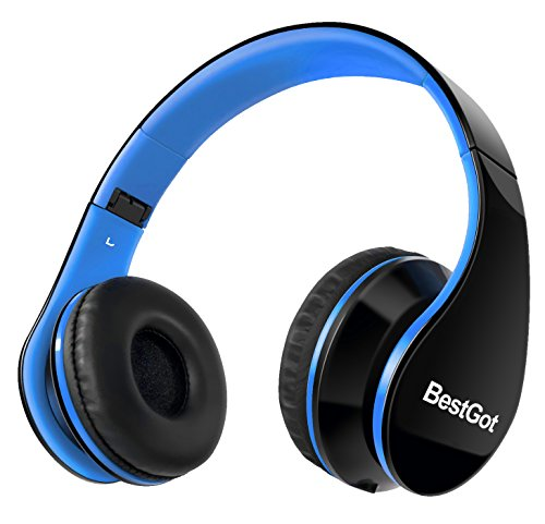 [Upgraded Version] BestGot Over Ear Kids Headphones for Kids Boys Adult with microphone In-line Volume, Included Cloth Bag , Foldable Headset with 3.5mm plug removable cord (Black/Blue)
