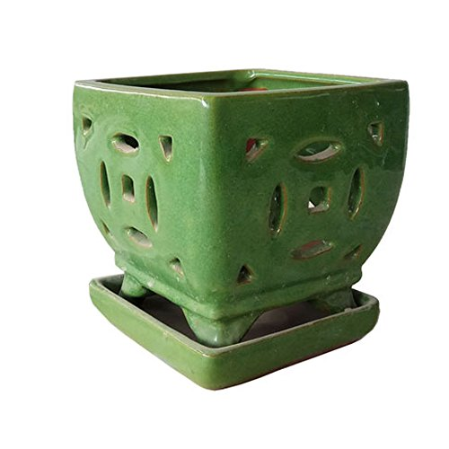 Better-way Square Ceramic Orchid Pots with Hole Flower Container Succulent Plant Planter with Saucer Windowsill Contemporary Home Decoration (5.5 Inch, Green)