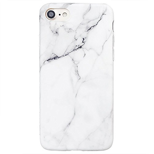 iPhone 8 Case, iPhone 7 Case, White & Grey Marble Pattern Design, Slim Fit Clear Bumper Soft TPU Full-Body Protective Cover Case for Apple iPhone 7/8 4.7' (White Marble)