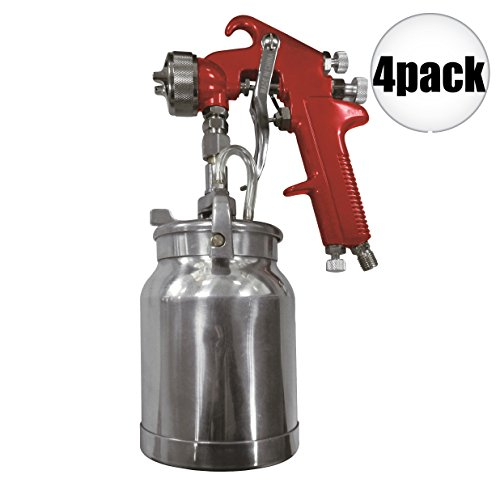 Astro Pneumatic 4008 Spray Gun with Cup - Red Handle 1.8mm Nozzle 4-Pack