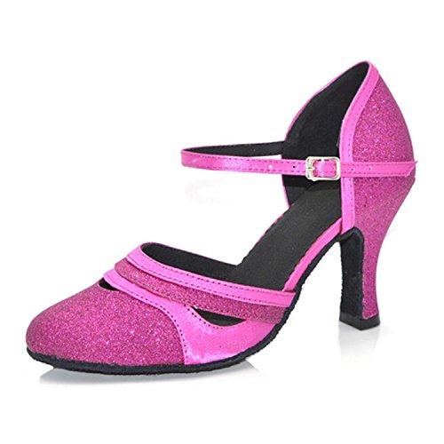 Jazz de Tobillo Samba Onecolor Baile Verano Latino Zapatos de Correas Baile Sandalias Modern BYLE Rojo Son Zapatos de Zapatos de Adultos Cuero de Baile de nqSXxYt6