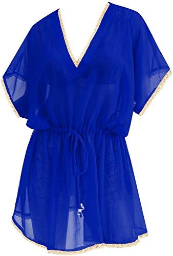 Women's Chiffon Beachwear Kimono Swimwear Swimsuit Bikini Cover up Blouse Blue Valentines Day Gifts 2017