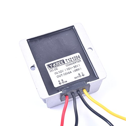 Car DC 12V 4A Voltage Stabilizer Surge Protector Power Supply Regulator for Auto Truck Vehicle Boat Solar System etc.(DC10-36V Input, DC12V Output)